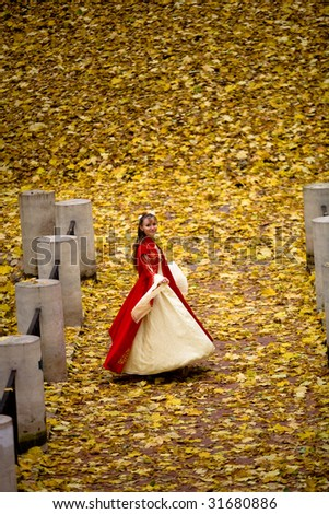 lady in medieval red dress in the autumn forest