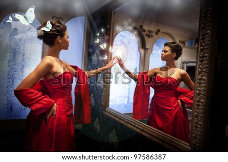 Lady in red and magic mirror