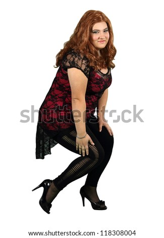 Lady in Red Wig Wearing Black Stockings isolated on white