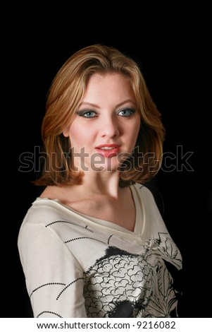lady in studio with black backgroun