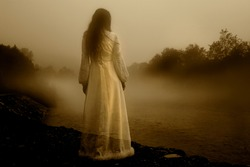 Lady in White Dress - Horror scene of the Woman Ghost in White Dress
