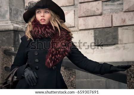 8a3ba18049f27 Arrogant young woman in leather jacket… Stock Photo 94611463 ...