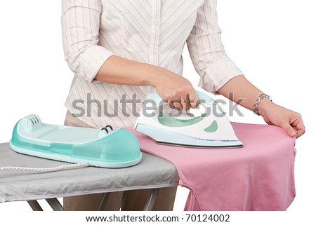 Lady ironing cloths her routine housework isolated on white