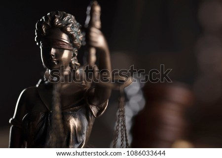 Lady justice compositions. Place for text. Bokeh background. #1086033644