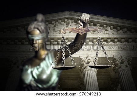 Lady Justice on the Supreme Court of U.S. background Foto stock ©