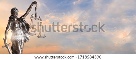 Lady Justice. Statue of Justice on sky background. Justice banner concept with copy space Photo stock ©