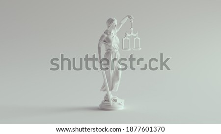 Lady Justice Statue the Personification of the Judicial System Pure White 3d illustration render