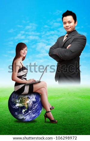 Lady on globe and smart business man : Elements of this image furnished by NASA