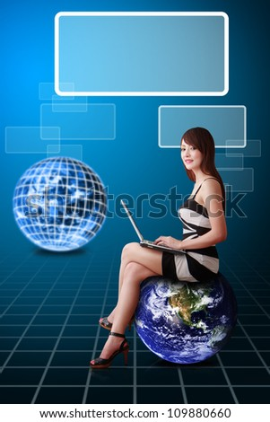 Lady on globe and window icon : Elements of this image furnished by NASA