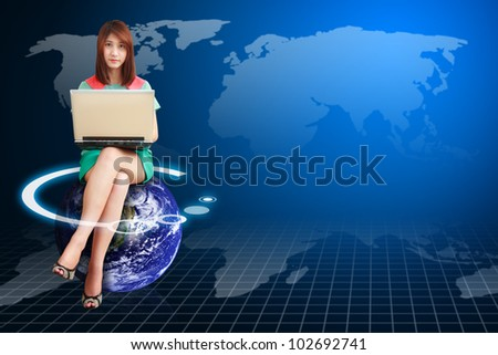 Lady on globe and world map background : Elements of this image furnished by NASA