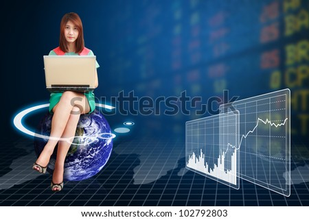 Lady on globe and world stock exchange graph report : Elements of this image furnished by NASA