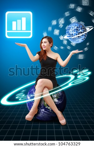 Lady on globe hold Bar graph icon from app world : Elements of this image furnished by NASA