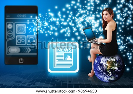 Lady on globe using notebook computer and News icon from mobile phone : Elements of this image furnished by NASA