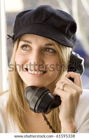 Lady on telephone - stock photo