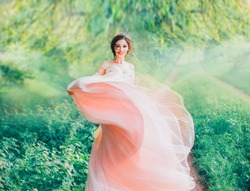 lady redhead doll Asian beauty in morning spring forest, cheerful joyful hair style girl brightly smiles flaps lush hem of pink light gentle dress, positive emotions summer nature, feeling happiness