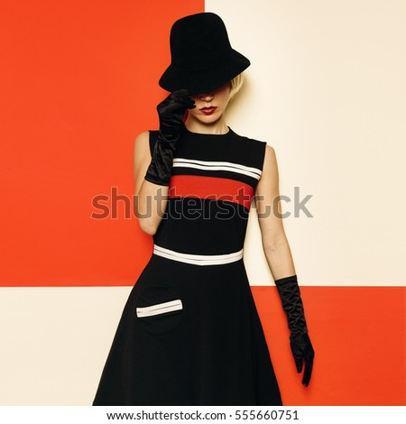 Lady Retro Style Cabaret vintage clothing. Minimal Fashion. Stripe Design