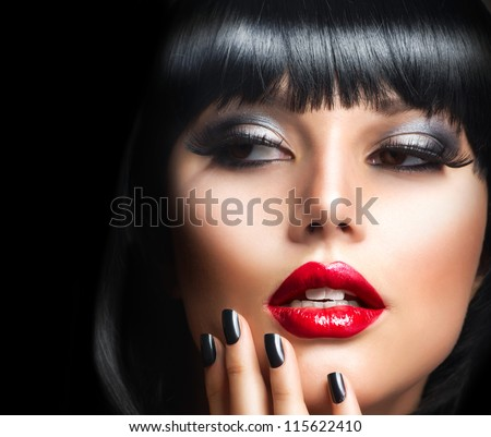 Lady Vamp Style. Brunette Woman close-up Portrait