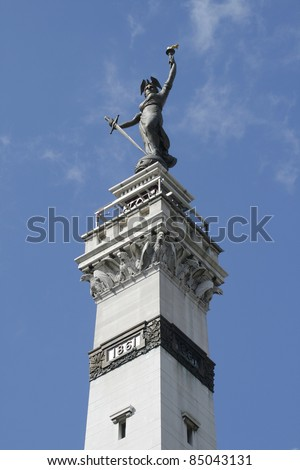 Lady Victory Statue at Monument Circle in Indianapolis