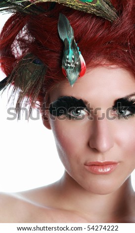 hair with feathers. with feathers and birds on