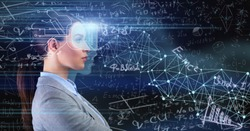Lady With Implanted Chip Learning Standing Over Blue Background With Scientific Formulas. Collage, Panorama
