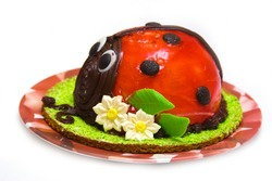 Ladybird cake isolated against white background