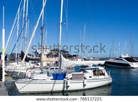 Laesoe / Denmark - August 2016: Summer idyll in the cozy marina of Vesteroe Havn #788137225