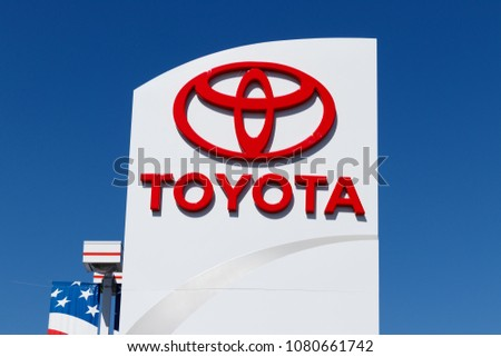 Lafayette - Circa April 2018: Toyota Car and SUV Logo and Signage. Toyota is the fifth largest company in the world by revenue I