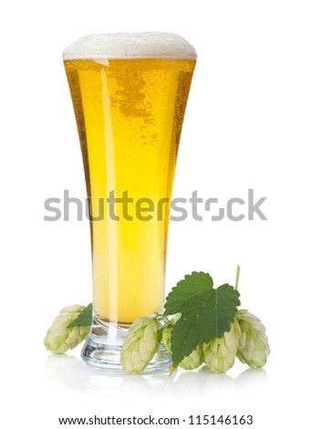 Lager beer cup and hop branch. Isolated on white background