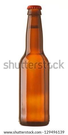 lager bottle with white background