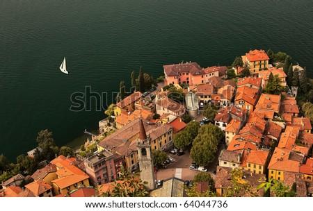 Lago di Como coastline town, aerial view.