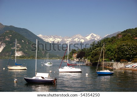 Lago Maggiore with view from Verbania (Italy) to the snowcapped swiss Alps