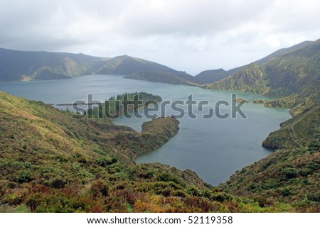 Lagoa do Fogo or in English: Lagoon of Fire is a crater lake within the Agua de Pau stratovolcano in the center of the island of Sao Miguel Island in the Azores