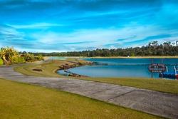 Lagoi bay lake is artificial lake in grand lagoi resort.