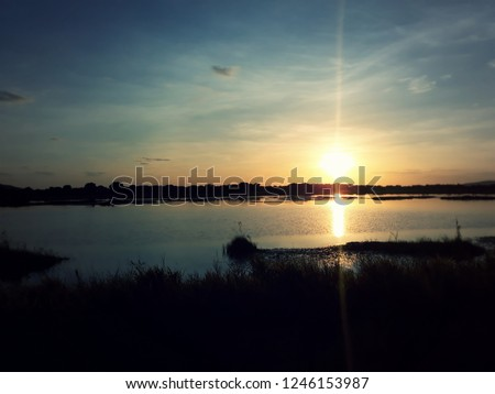 Lagoon of the International BR-174, Roraima / Brazil. Beautiful sunrise on the north end of Brazil.