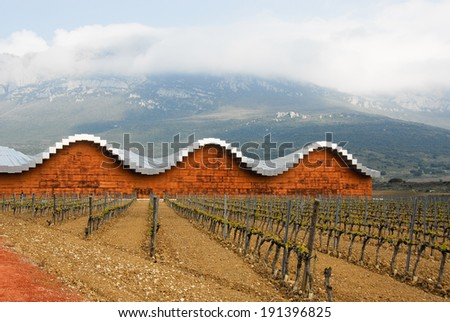 LAGUARDIA, SPAIN - APRIL 21: The modern winery of Ysios on April 21, 2011 in Laguardia, Basque Country, Spain. This modern winery, designed by Santiago Calatrava, was built in 2001.