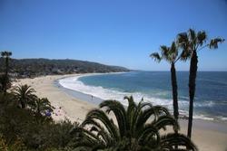 Laguna Beach California Main Beach. Laguna Beach with blue skies and blue ocean waves. Vacation Destination.