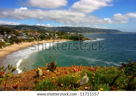 Laguna Beach Crescent Cove looking South towards Dana Point - stock photo