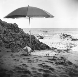 Laguna Beach photograph taken with a Holga film camera. The film quality adds to the image having a retro feel to it.