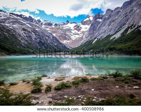 Shutterstock Laguna (Lake) Esmeralda, Tierra del fuego, Ushuaia, Argentina