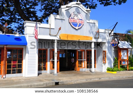 LAHAINA, HI - JULY 16: landmark Bubba Gump restaurant on the Lahaina waterfront on July 16, 2012. Lahaina was once capital of Hawaii and home to the whaling industry. Now it is a pretty tourist town.