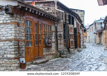 Lahic. Main central street of Lahij - a town in the Ismailly region, Azerbaijan. Lahij is a notable place in Azerbaijan. Winter day in Lahij