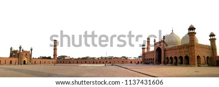 Lahore, Pakistan of Badshahi masjid which the mosque's prayer hall located in Punjab. The mosque is located west of Lahore Fort along the outskirts of the Walled City with panorama view. #1137431606