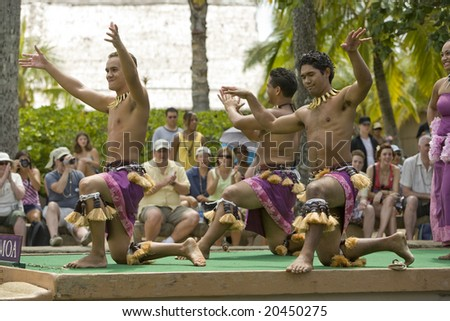 LAI'E, HI - JULY 26: Students performing Samoan dances at the Polynesian Cultural Center (PCC) in 2008. The PCC is Hawai'i top paid attraction, and supports BYU students. - stock photo