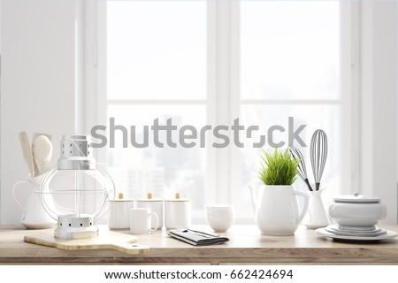 Laid brown kitchen talbe with white kitchenware, utencils and a large window in the background. 3d rendering