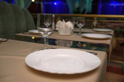 Laid table for restaurant guests.
