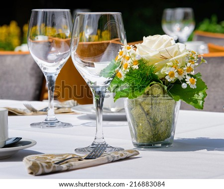 laid table in summer at the wedding