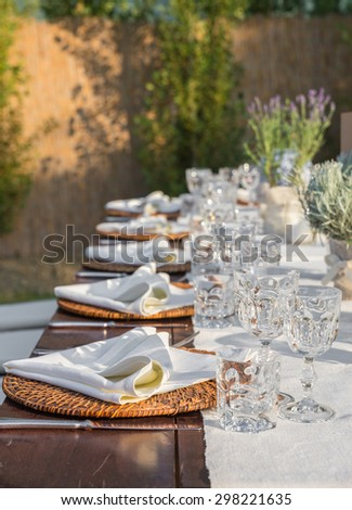 Laid tables for the gala dinner of the wedding