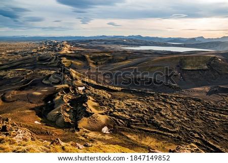 Lakagigar volcanic fissure at sunset illuminated by golden light, Iceland Photo stock ©
