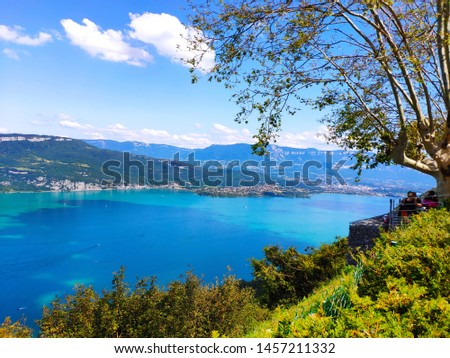 Lake Aix-les-Bains top view from the mountains Photo stock ©