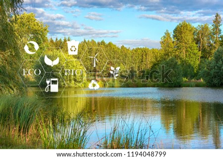 lake among the trees in the park on a summer day and the symbols of ecology and signs #1194048799
